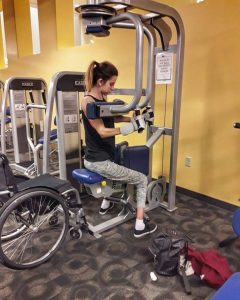 Milica getting her daily workout in the gym.