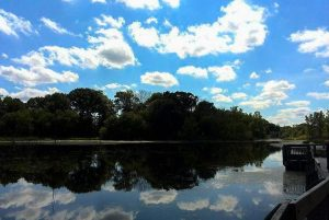 Clouds in the bright blue sky are reflected on the lake