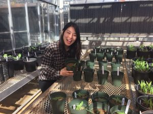 Seongeun checking on the progress of the plants she potted