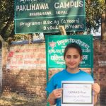 Purnima with her UGRAD Post at her home university campus