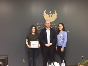 Leila Pyreva (Russia), Will O'Roark (Global UGRAD Program Officer), and Zhanna Ateibek (Kazakhstan) at the University of Wisconsin - Green Bay