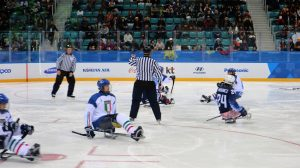 Paralympic ice hockey players during a match