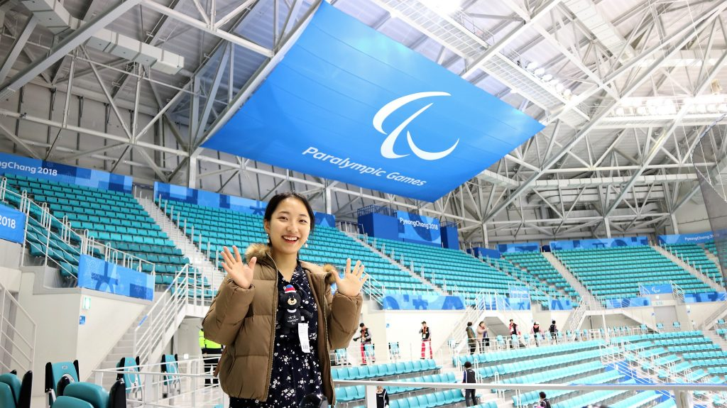 Yunyi Cho in the Gangneung Ice Arena at the 2018 Paralympic Games